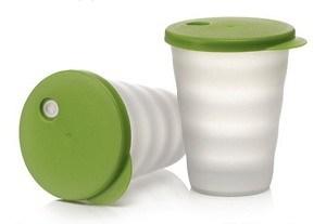 Стакан Очарование с оверстием для трубочки (330мл) 2шт. в зеленом цвете - фото 11615